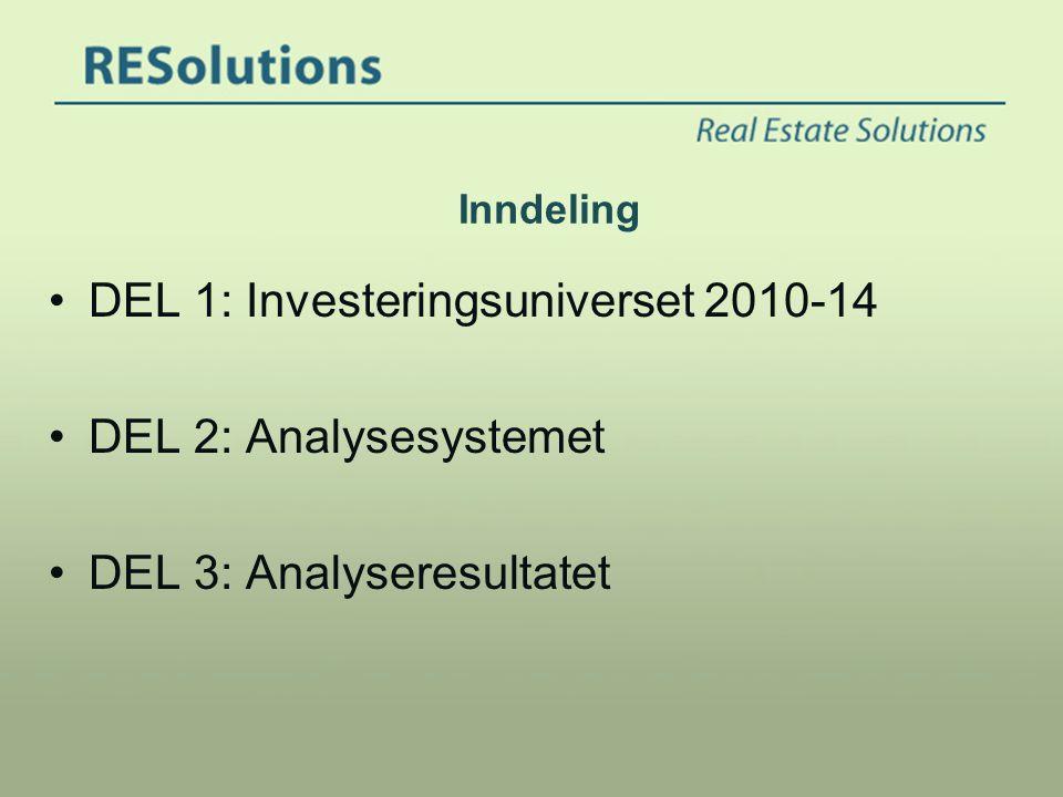 Inndeling •DEL 1: Investeringsuniverset 2010-14 •DEL 2: Analysesystemet •DEL 3: Analyseresultatet