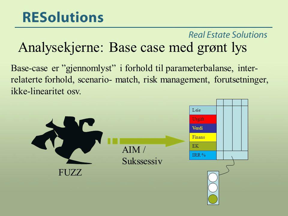 """Leie Utgift Finans Verdi EK IRR % Analysekjerne: Base case med grønt lys Base-case er """"gjennomlyst"""" i forhold til parameterbalanse, inter- relaterte f"""
