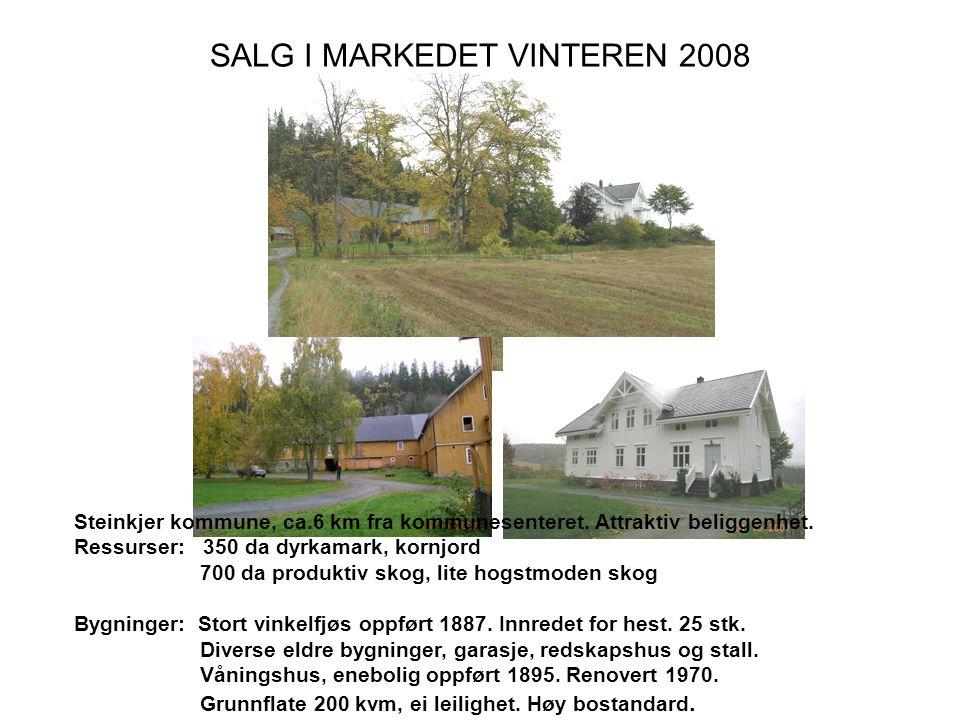 SALG I MARKEDET VINTEREN 2008 Steinkjer kommune, ca.6 km fra kommunesenteret.