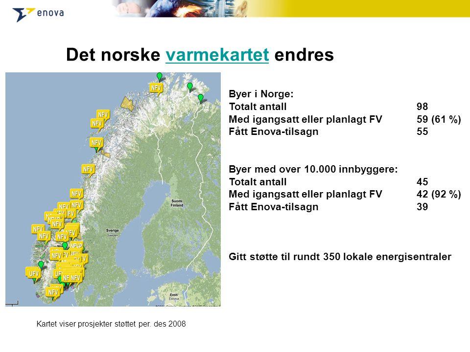 Det norske varmekartet endresvarmekartet Kartet viser prosjekter støttet per. des 2008 Byer i Norge: Totalt antall98 Med igangsatt eller planlagt FV59