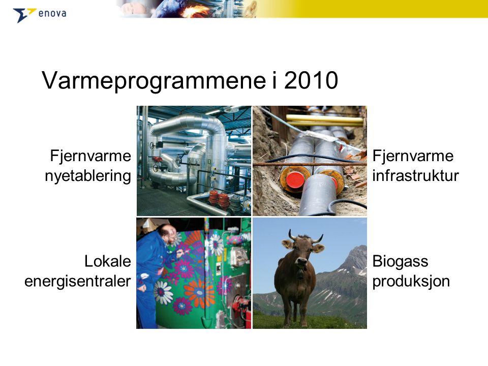 Varmeprogrammene i 2010 Fjernvarme nyetablering Fjernvarme infrastruktur Lokale energisentraler Biogass produksjon