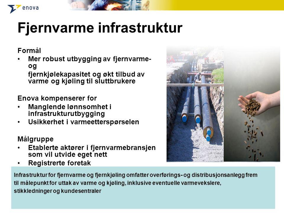 Infrastruktur for fjernvarme og fjernkjøling omfatter overførings- og distribusjonsanlegg frem til målepunkt for uttak av varme og kjøling, inklusive
