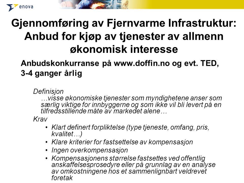 Gjennomføring av Fjernvarme Infrastruktur: Anbud for kjøp av tjenester av allmenn økonomisk interesse Anbudskonkurranse på www.doffin.no og evt. TED,