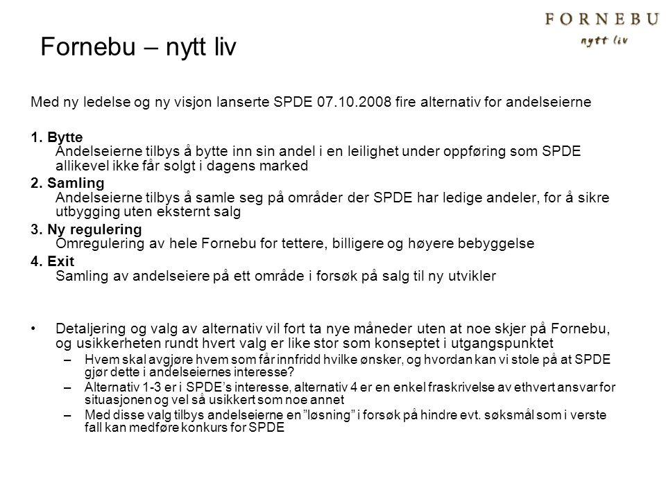 Fornebu – nytt liv Med ny ledelse og ny visjon lanserte SPDE 07.10.2008 fire alternativ for andelseierne 1. Bytte Andelseierne tilbys å bytte inn sin