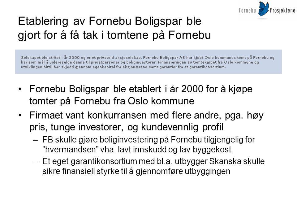 Etablering av Fornebu Boligspar ble gjort for å få tak i tomtene på Fornebu •Fornebu Boligspar ble etablert i år 2000 for å kjøpe tomter på Fornebu fr