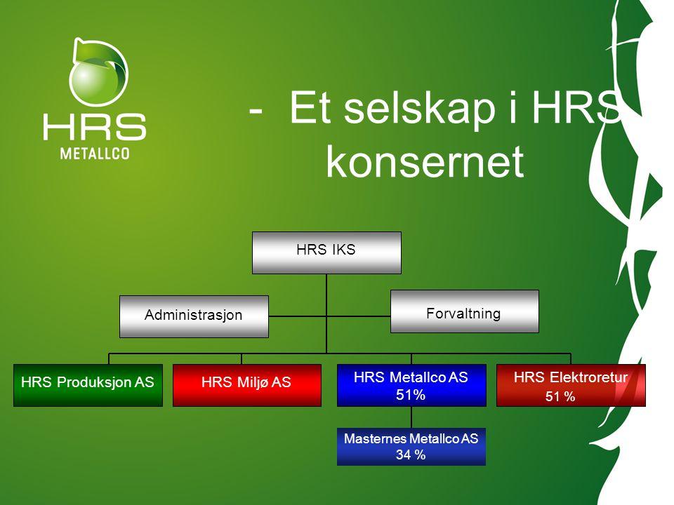 - Et selskap i HRS konsernet HRS IKS Administrasjon Forvaltning HRS Miljø ASHRS Produksjon AS HRS Metallco AS 51% HRS Elektroretur 51 % Masternes Meta