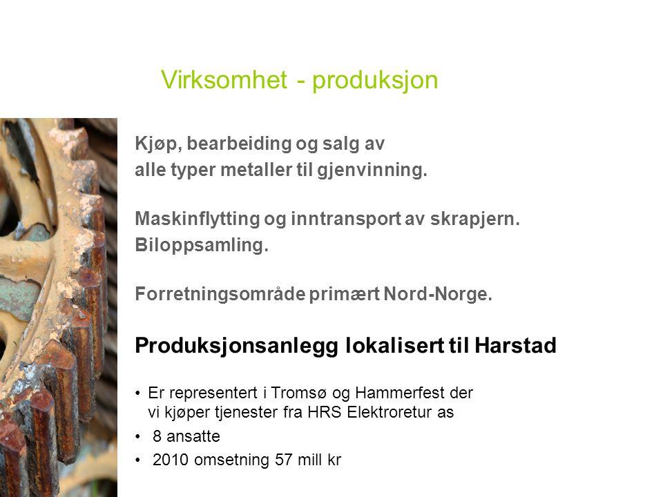 Virksomhet - produksjon Kjøp, bearbeiding og salg av alle typer metaller til gjenvinning. Maskinflytting og inntransport av skrapjern. Biloppsamling.