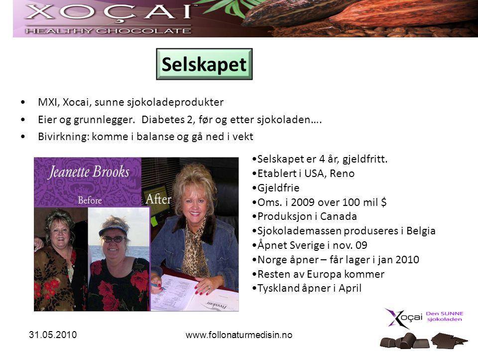 www.follonaturmedisin.no •MXI, Xocai, sunne sjokoladeprodukter •Eier og grunnlegger. Diabetes 2, før og etter sjokoladen…. •Bivirkning: komme i balans