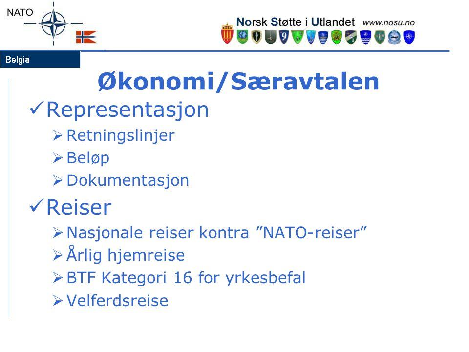 """Økonomi/Særavtalen  Representasjon  Retningslinjer  Beløp  Dokumentasjon  Reiser  Nasjonale reiser kontra """"NATO-reiser""""  Årlig hjemreise  BTF"""