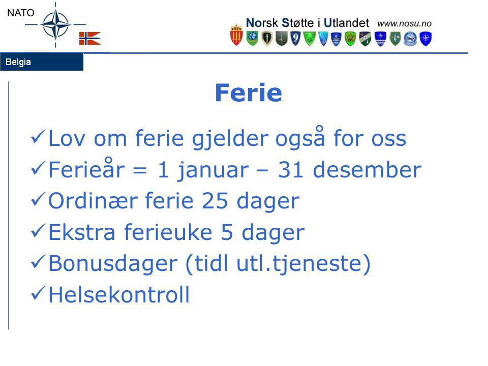Ferie  Lov om ferie gjelder også for oss  Ferieår = 1 januar – 31 desember  Ordinær ferie 25 dager  Ekstra ferieuke 5 dager  Bonusdager (tidl utl