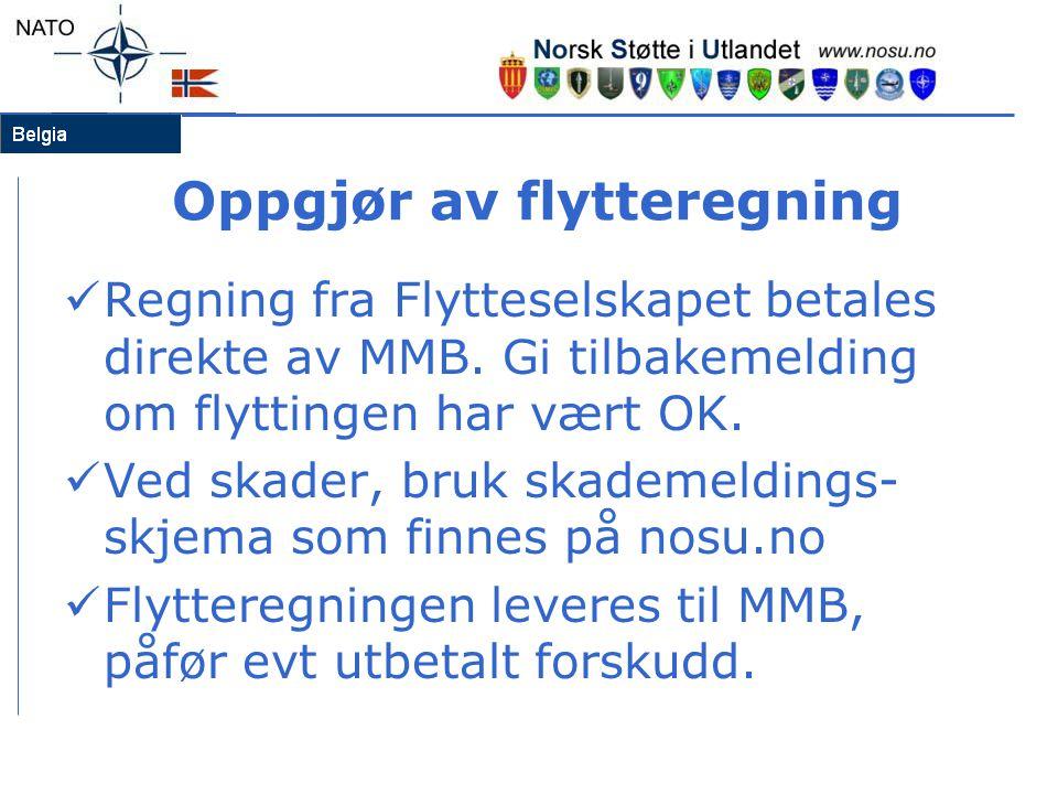 Oppgjør av flytteregning  Regning fra Flytteselskapet betales direkte av MMB. Gi tilbakemelding om flyttingen har vært OK.  Ved skader, bruk skademe