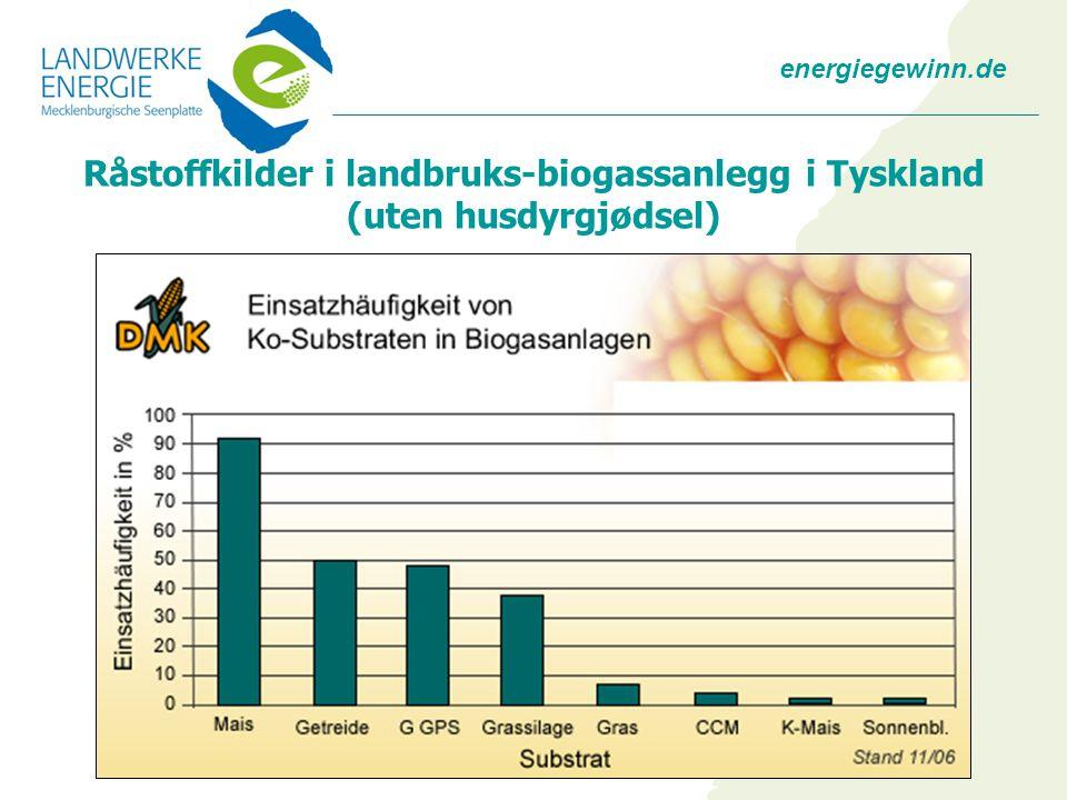 energiegewinn.de Råstoffkilder i landbruks-biogassanlegg i Tyskland (uten husdyrgjødsel)