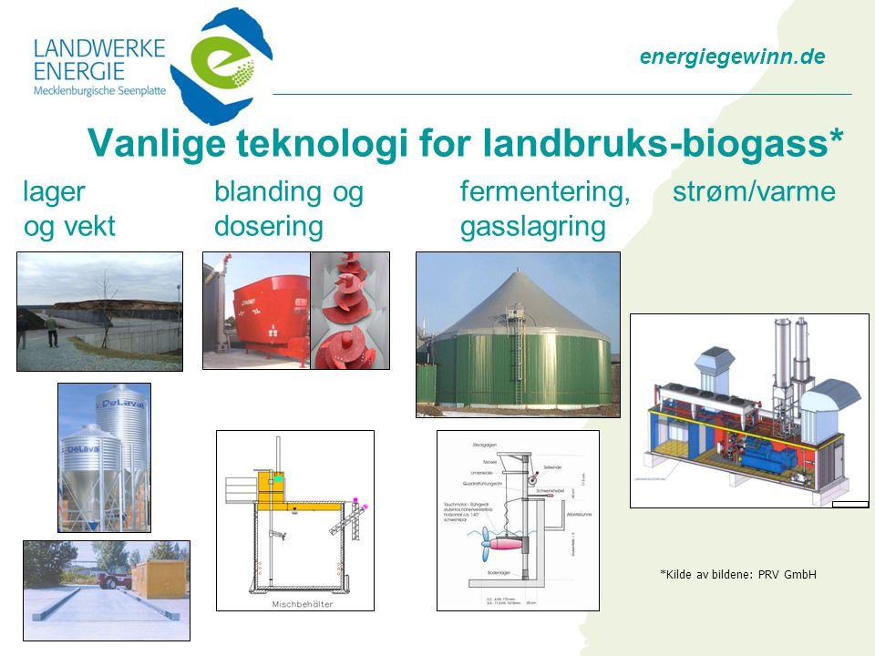 energiegewinn.de Vanlige teknologi for landbruks-biogass* lager blanding og fermentering, strøm/varme og vekt doseringgasslagring *Kilde av bildene: PRV GmbH
