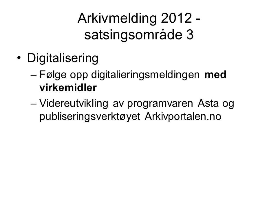 Arkivmelding 2012 - satsingsområde 3 •Digitalisering –Følge opp digitalieringsmeldingen med virkemidler –Videreutvikling av programvaren Asta og publi