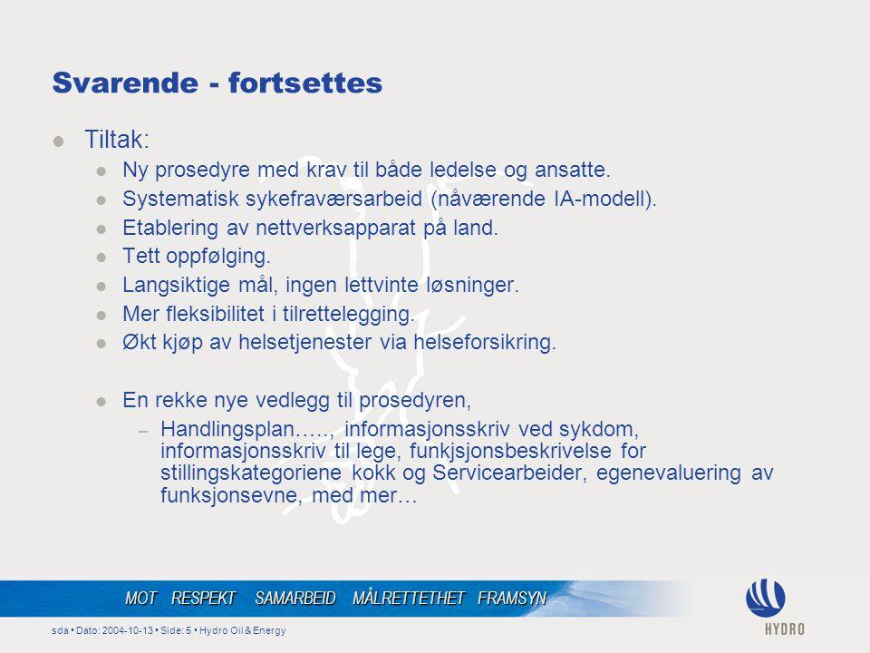 sda • Dato: 2004-10-13 • Side: 5 • Hydro Oil & Energy MOT RESPEKT SAMARBEID MÅLRETTETHET FRAMSYN Svarende - fortsettes  Tiltak:  Ny prosedyre med krav til både ledelse og ansatte.