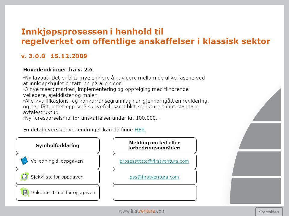 www.firstventura.com Innkjøpsprosessen i henhold til regelverket om offentlige anskaffelser i klassisk sektor v. 3.0.0 15.12.2009 Startsiden Veilednin