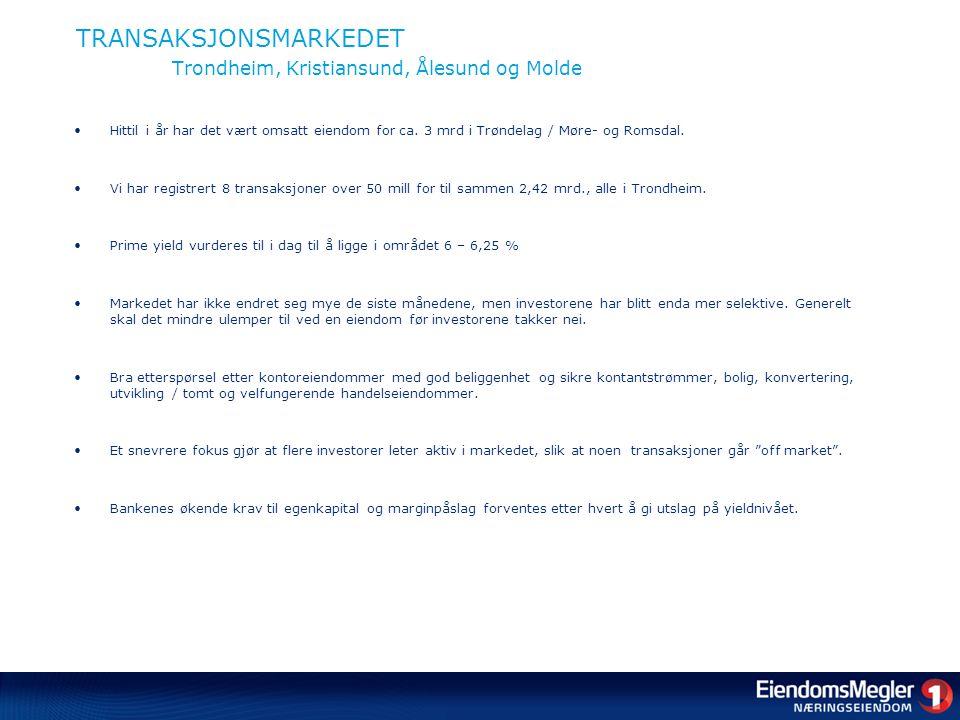 TRANSAKSJONSMARKEDET Trondheim, Kristiansund, Ålesund og Molde •Hittil i år har det vært omsatt eiendom for ca.