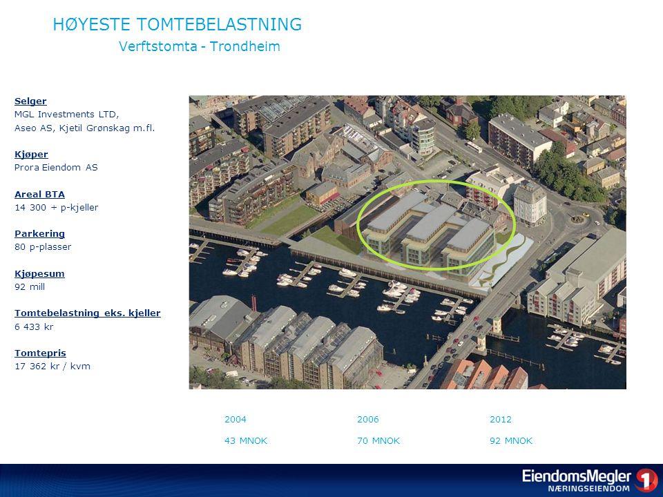 HØYESTE TOMTEBELASTNING Verftstomta - Trondheim Selger MGL Investments LTD, Aseo AS, Kjetil Grønskag m.fl.