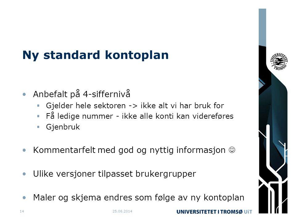 Ny standard kontoplan •Anbefalt på 4-siffernivå  Gjelder hele sektoren -> ikke alt vi har bruk for  Få ledige nummer - ikke alle konti kan viderefør