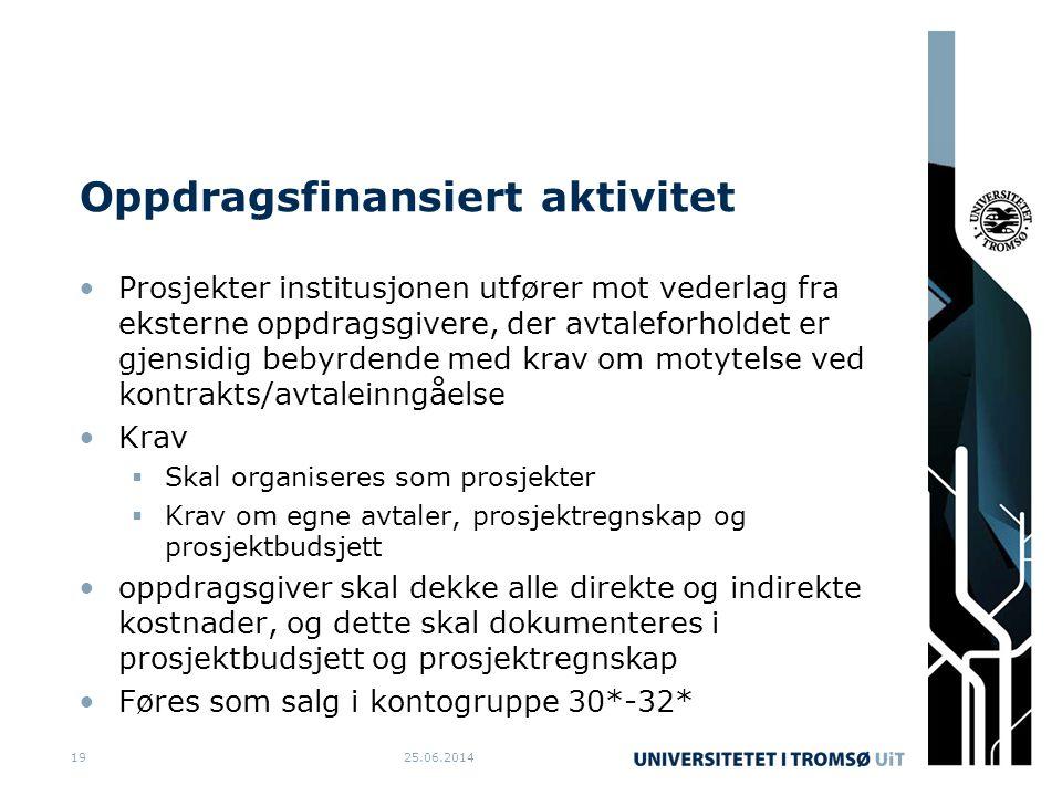 Oppdragsfinansiert aktivitet •Prosjekter institusjonen utfører mot vederlag fra eksterne oppdragsgivere, der avtaleforholdet er gjensidig bebyrdende m