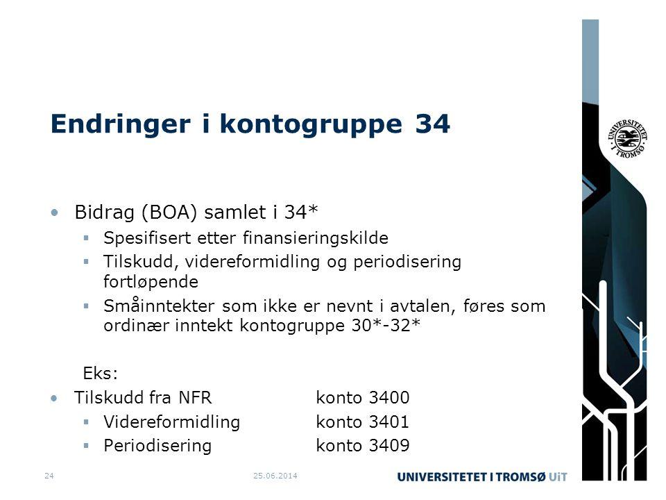 Endringer i kontogruppe 34 •Bidrag (BOA) samlet i 34*  Spesifisert etter finansieringskilde  Tilskudd, videreformidling og periodisering fortløpende  Småinntekter som ikke er nevnt i avtalen, føres som ordinær inntekt kontogruppe 30*-32* Eks: •Tilskudd fra NFRkonto 3400  Videreformidlingkonto 3401  Periodiseringkonto 3409 25.06.201424