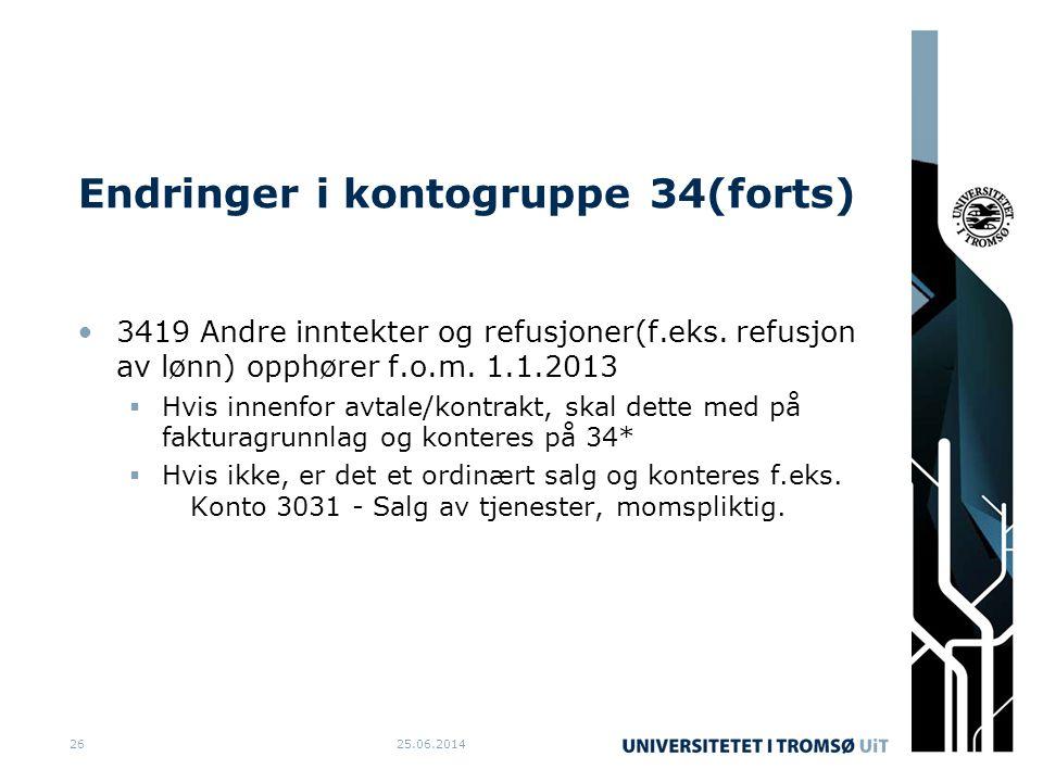 Endringer i kontogruppe 34(forts) •3419 Andre inntekter og refusjoner(f.eks. refusjon av lønn) opphører f.o.m. 1.1.2013  Hvis innenfor avtale/kontrak