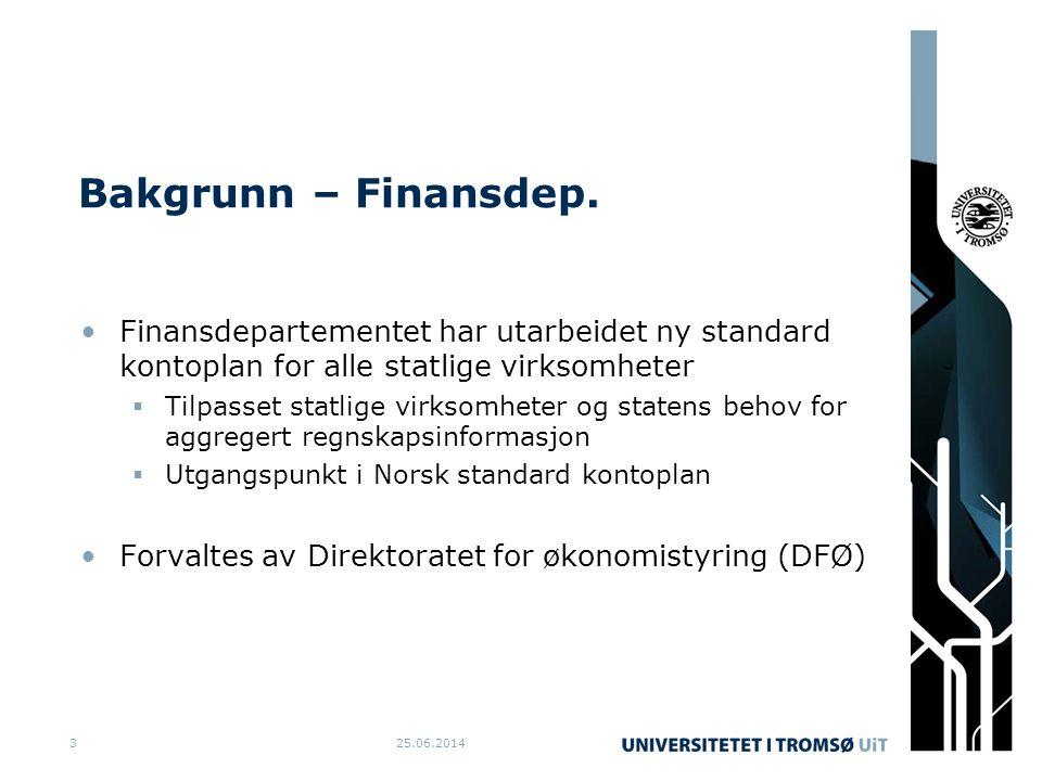 Bakgrunn – Finansdep. •Finansdepartementet har utarbeidet ny standard kontoplan for alle statlige virksomheter  Tilpasset statlige virksomheter og st