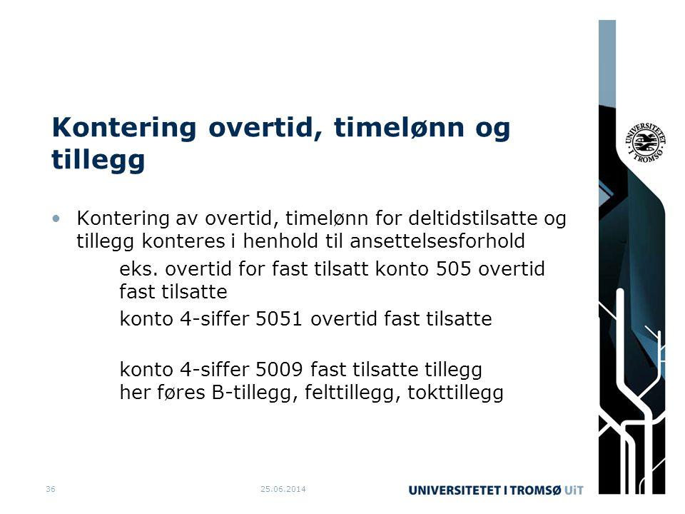 Kontering overtid, timelønn og tillegg •Kontering av overtid, timelønn for deltidstilsatte og tillegg konteres i henhold til ansettelsesforhold eks. o