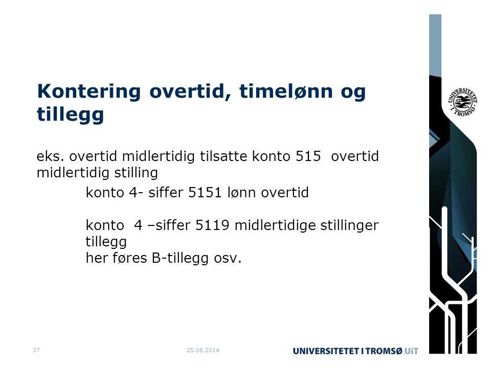 Kontering overtid, timelønn og tillegg eks.
