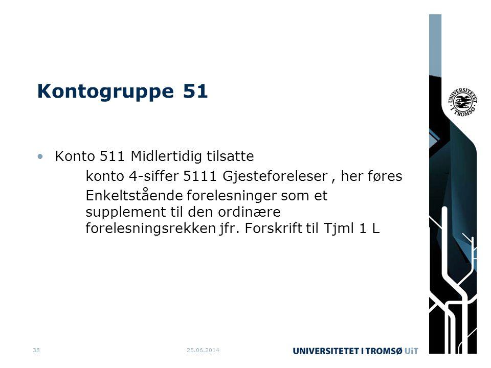 Kontogruppe 51 •Konto 511 Midlertidig tilsatte konto 4-siffer 5111 Gjesteforeleser, her føres Enkeltstående forelesninger som et supplement til den ordinære forelesningsrekken jfr.