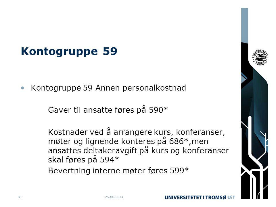 Kontogruppe 59 •Kontogruppe 59 Annen personalkostnad Gaver til ansatte føres på 590* Kostnader ved å arrangere kurs, konferanser, møter og lignende ko