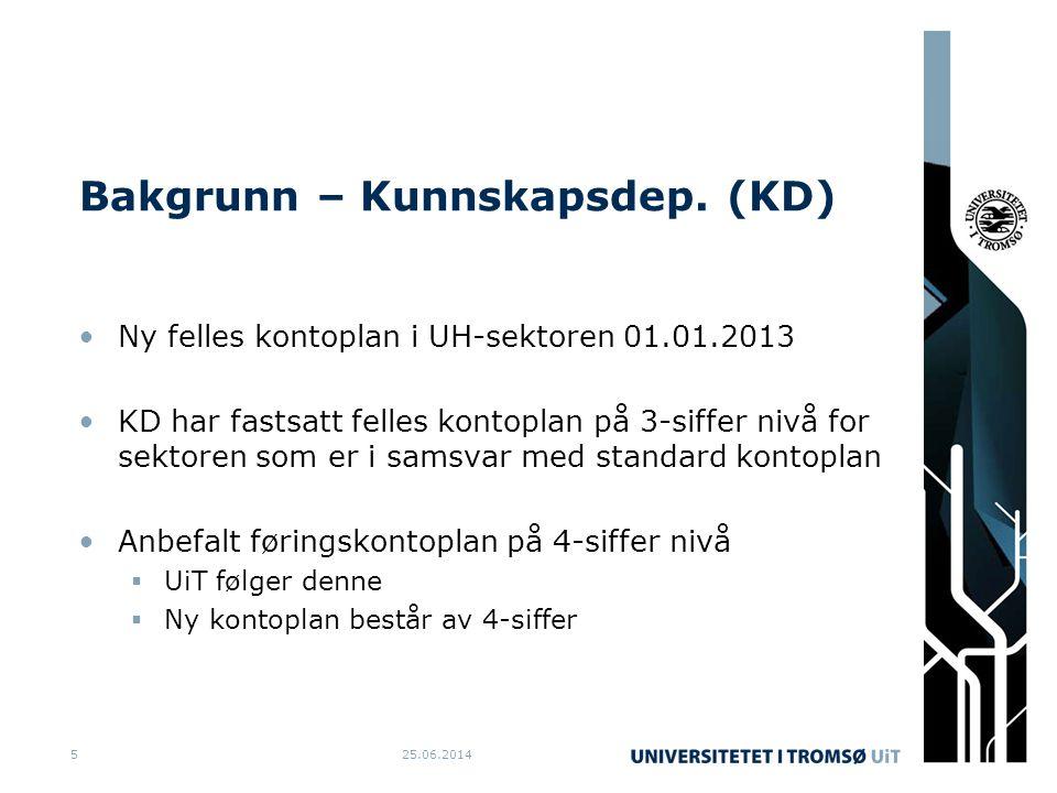 Bakgrunn – Kunnskapsdep. (KD) •Ny felles kontoplan i UH-sektoren 01.01.2013 •KD har fastsatt felles kontoplan på 3-siffer nivå for sektoren som er i s