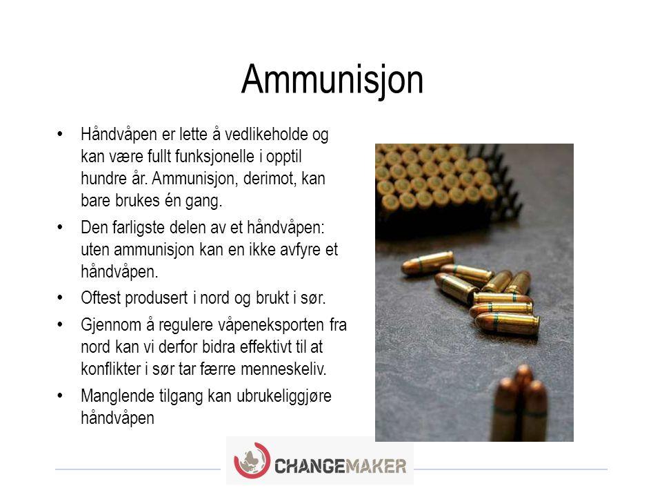 Ammunisjon • Håndvåpen er lette å vedlikeholde og kan være fullt funksjonelle i opptil hundre år.