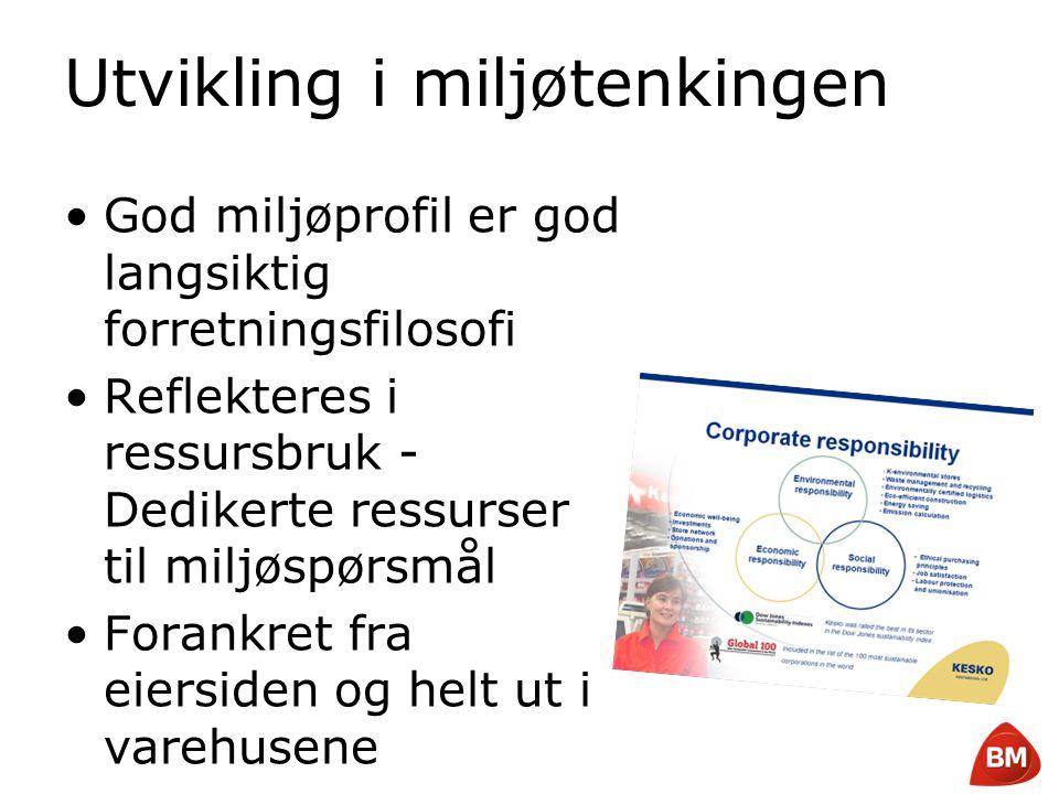 Copyright © 2008 Byggmakker Norge AS Utvikling i miljøtenkingen •God miljøprofil er god langsiktig forretningsfilosofi •Reflekteres i ressursbruk - De