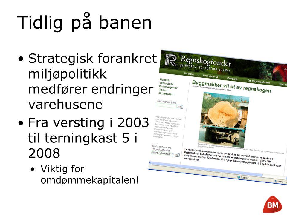 Copyright © 2008 Byggmakker Norge AS Tidlig på banen •Strategisk forankret miljøpolitikk medfører endringer i varehusene •Fra versting i 2003 til tern