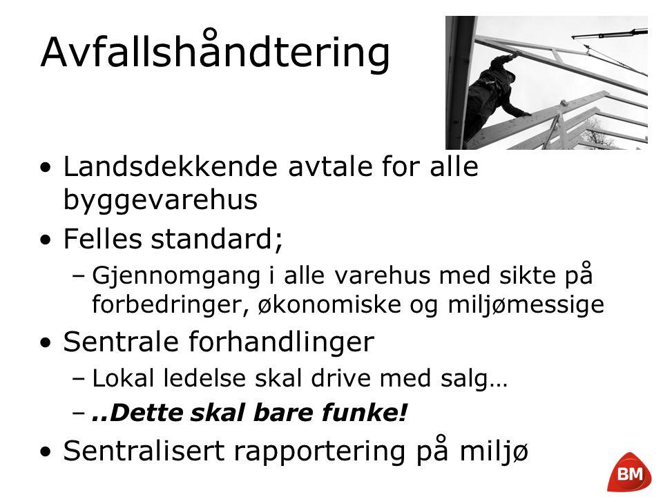 Copyright © 2008 Byggmakker Norge AS Avfallshåndtering •Landsdekkende avtale for alle byggevarehus •Felles standard; –Gjennomgang i alle varehus med s