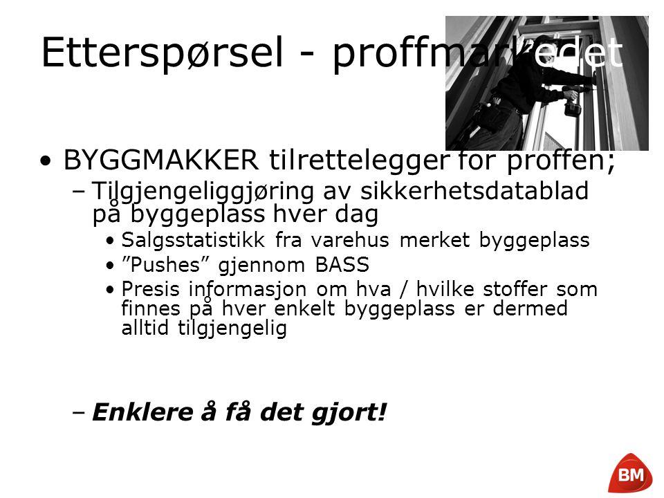 Copyright © 2008 Byggmakker Norge AS Etterspørsel - proffmarkedet •BYGGMAKKER tilrettelegger for proffen; –Tilgjengeliggjøring av sikkerhetsdatablad p