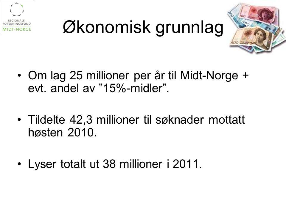 """Økonomisk grunnlag •Om lag 25 millioner per år til Midt-Norge + evt. andel av """"15%-midler"""". •Tildelte 42,3 millioner til søknader mottatt høsten 2010."""