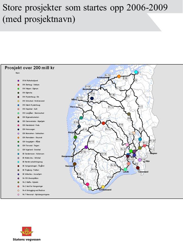 Store prosjekter som startes opp 2006-2009 (med prosjektnavn)