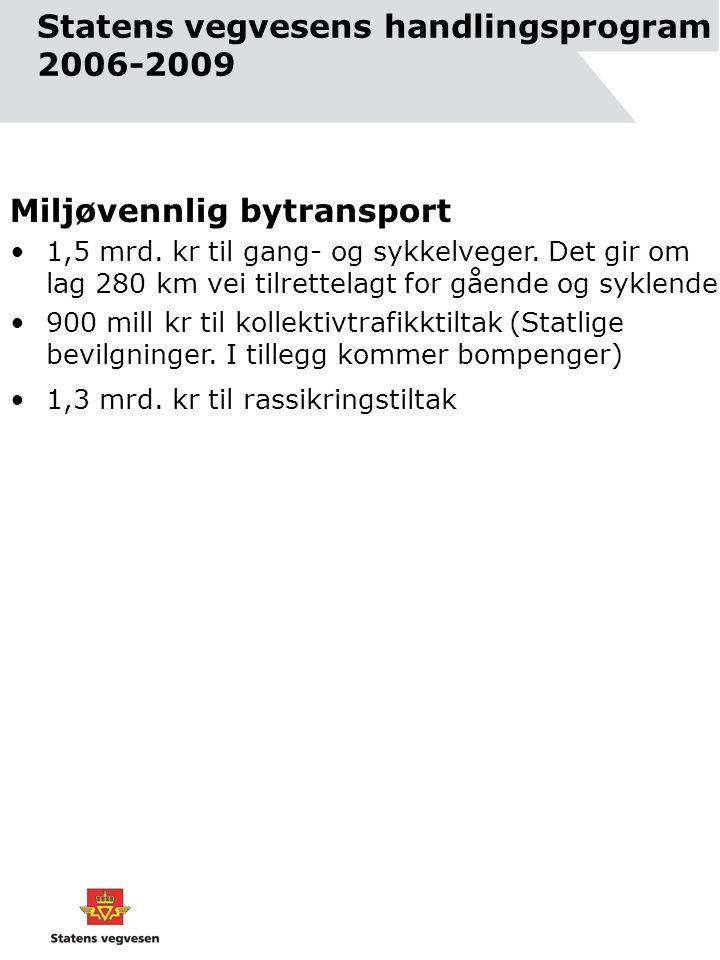 Statens vegvesens handlingsprogram 2006-2009 Miljøvennlig bytransport •1,5 mrd.