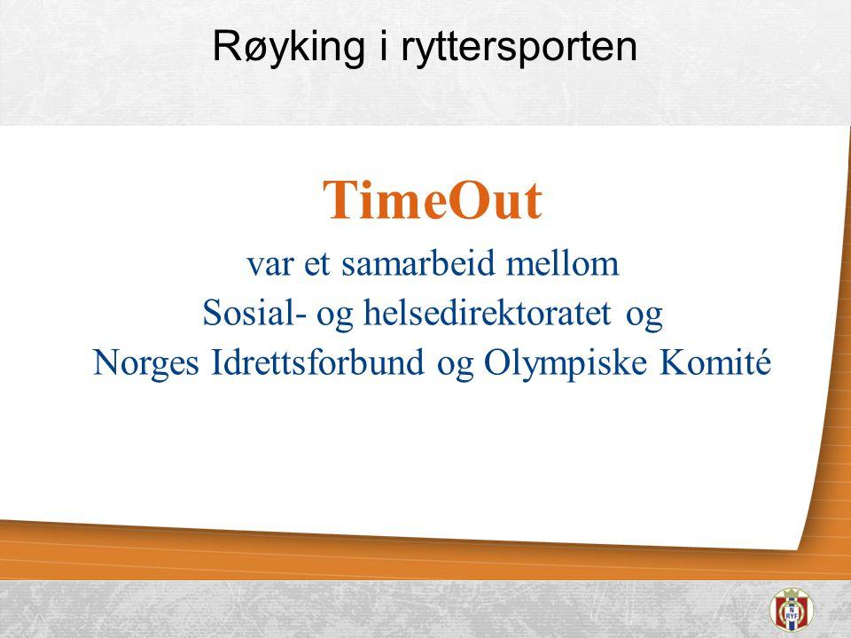 Røyking i ryttersporten TimeOut var et samarbeid mellom Sosial- og helsedirektoratet og Norges Idrettsforbund og Olympiske Komité