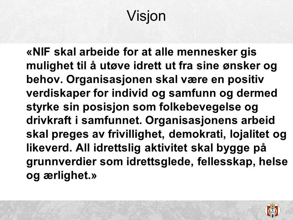Visjon «NIF skal arbeide for at alle mennesker gis mulighet til å utøve idrett ut fra sine ønsker og behov. Organisasjonen skal være en positiv verdis