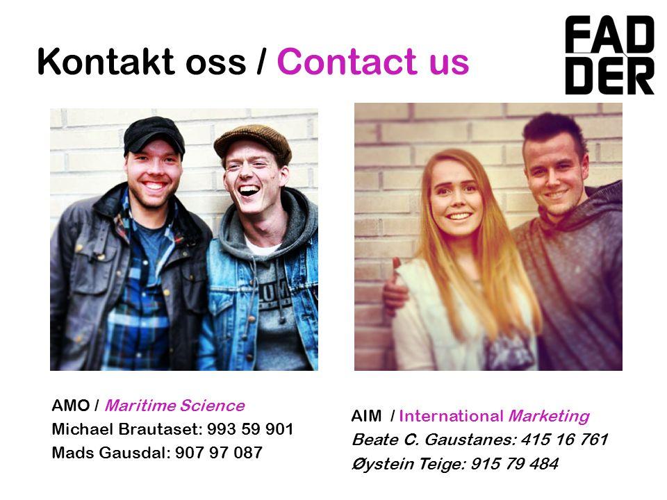 Kontakt oss / Contact us AIM / International Marketing Beate C.