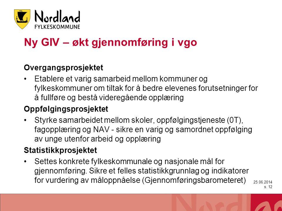Ny GIV – økt gjennomføring i vgo Overgangsprosjektet •Etablere et varig samarbeid mellom kommuner og fylkeskommuner om tiltak for å bedre elevenes for