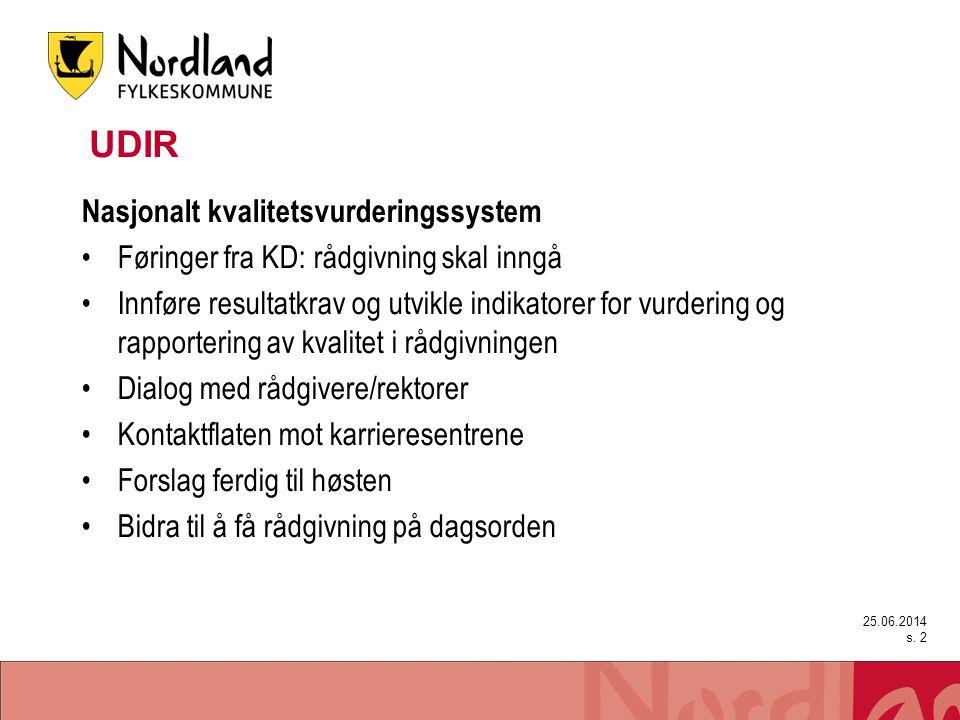 25.06.2014 s. 2 UDIR Nasjonalt kvalitetsvurderingssystem •Føringer fra KD: rådgivning skal inngå •Innføre resultatkrav og utvikle indikatorer for vurd