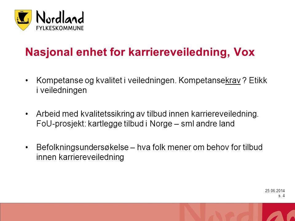 Nasjonal enhet for karriereveiledning, Vox •Kompetanse og kvalitet i veiledningen. Kompetansekrav ? Etikk i veiledningen •Arbeid med kvalitetssikring