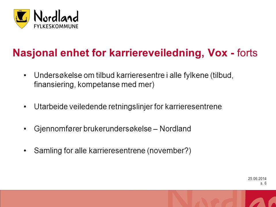 Nasjonal enhet for karriereveiledning, Vox - forts •Undersøkelse om tilbud karrieresentre i alle fylkene (tilbud, finansiering, kompetanse med mer) •U