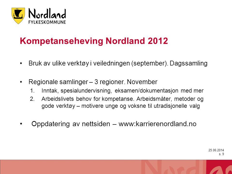 Kompetanseheving Nordland 2012 •Bruk av ulike verktøy i veiledningen (september). Dagssamling •Regionale samlinger – 3 regioner. November 1.Inntak, sp