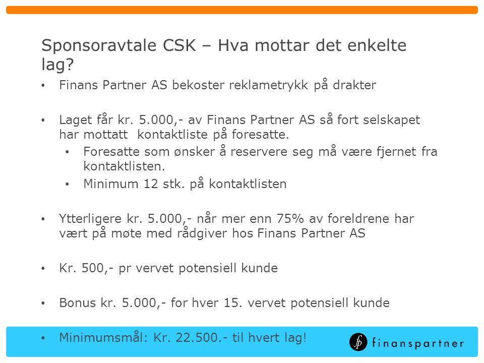 Sponsoravtale CSK – Hvilke forpliktelser for foresatte.