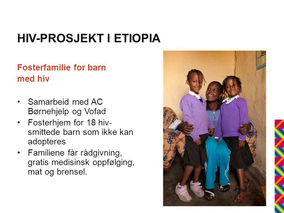 HIV-PROSJEKT I ETIOPIA Fosterfamilie for barn med hiv •Samarbeid med AC Børnehjelp og Vofad •Fosterhjem for 18 hiv- smittede barn som ikke kan adopteres •Familiene får rådgivning, gratis medisinsk oppfølging, mat og brensel.